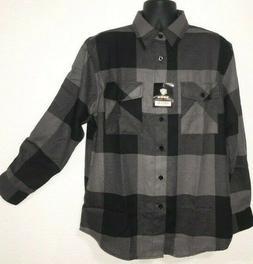 New Yago Flannel Charcoal/ Black Long Sleeve Shirt 2508-H4