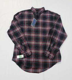 New G.H. Bass & Co Men's Flannel Button Down Shirt Red Black