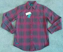 New G.H. Bass & Co Mens Small Red Plaid Flannel Button Up Lo