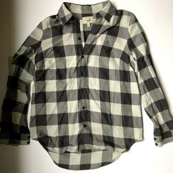 New, G.H. Bass & Co. Woman's Checkered Flannel Shirt, Gray,