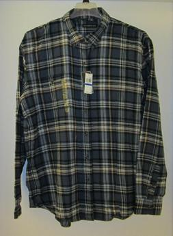 NEW G.H. Bass Co. Mens Long Sleeve Blue Plaid Flannel Shirt,