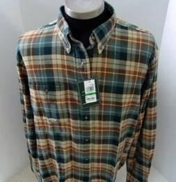 New GH Bass & Co flannel shirt L green & brown plaid long sl