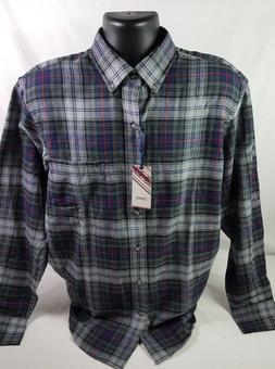 IZOD  Gray and Blue Flannel Long Sleeve Shirt Mens Size S