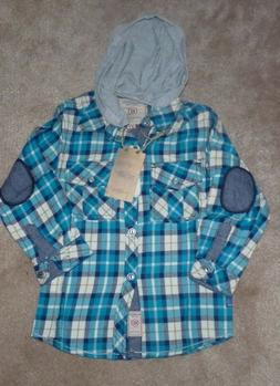 NEW GIOBERTI Hoodie L/S Long Sleeve Plaid Flannel Shirt 4T N