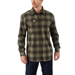 New Carhartt Hubbard Flannel Long Sleeve Shirt, Burnt Olive
