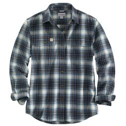 NEW Carhartt HUBBARD PLAID FLANNEL SHIRT NAVY BLUE heavyweig