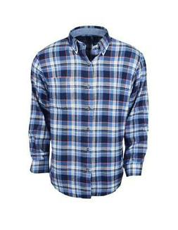 New Izod- Long Sleeve Flannel Federal Blue Large