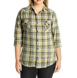 *NEW* Match Women's Long Sleeve Flannel Plaid Shirt; XL; Yel