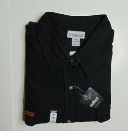 NEW Carhartt Men 4XL Solid Black Flannel Button Shirt Thick