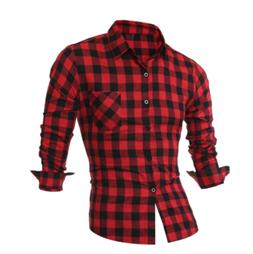 New Men Long Sleeve Flannel Casual Check Print Cotton Work F
