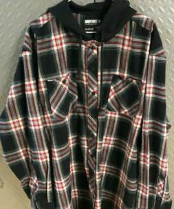 NEW Zoo York Men's Big & Tall 3XL Flannel Plaid Hoodie Shirt