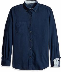 New Nautica Men's Classic Fit Navy Solid Button Front Long S