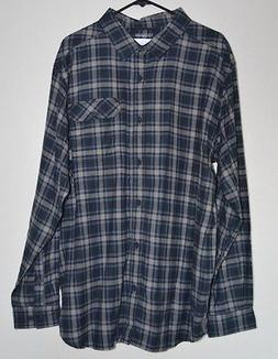 NEW Men's Columbia Blue and Gray Button Up Flannel XL