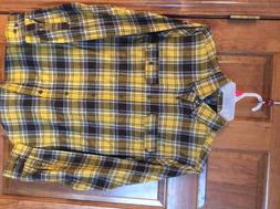 New George Men's Flannel Shirt Yellow Brown Plaid S NWT