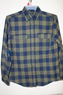 NEW Men's Long Sleeve Flannel Shirt by George Size Small Gre