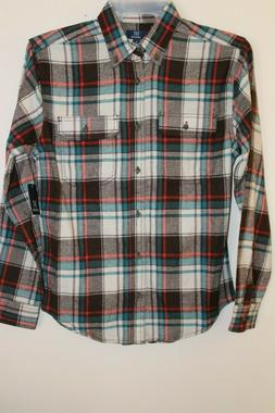 NEW Men's Long Sleeve Plaid Flannel Shirt by George Size Sma