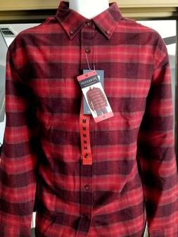 New Men's Pendleton Mason Flannel Shirt Red Wine Lister Plai