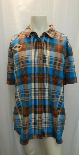 NEW RUFF HEWN Mens 2XL Multi-Color Short Sleeve Flannel Shir