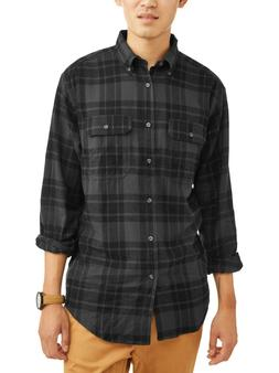 NEW Mens George Gray Plaid Cotton Soft Flannel Button Down S