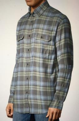 new mens grey green blue plaid shirt
