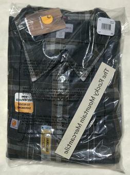 NEW Carhartt Mens Hubbard Plaid Flannel Shirt BLACK HEATHER