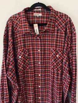 NEW Foxfire Mens Plaid Flannel Shirt Size 5XL 5XT Snap Down