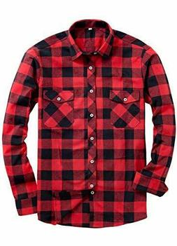 NEW Unisex Red Black Buffalo Plaid Shirt Long Sleeve Button