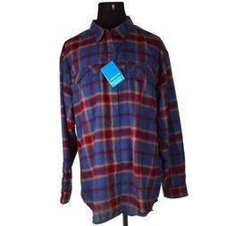 NEW Columbia Mens Shirt 3XL 3X Omni-Wick Red Blue Silver Rid
