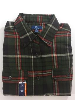 NEW George Military Green Plaid Flannel Shirt Long Sleeve Wa