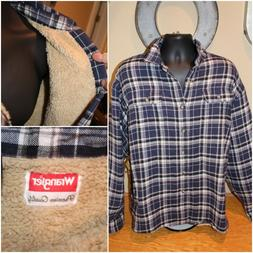 NEW NWT Mens WRANGLER Long Sleeve Sherpa Lined Button Flanne