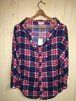 NEW Paper+Tee  Women's Medium 6/8 Over-sized Plaid Shirt Pol