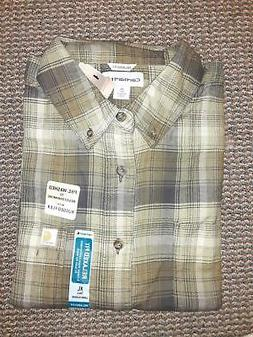 New Carhartt Rugged Flex Hamilton Flannel Shirt, Green