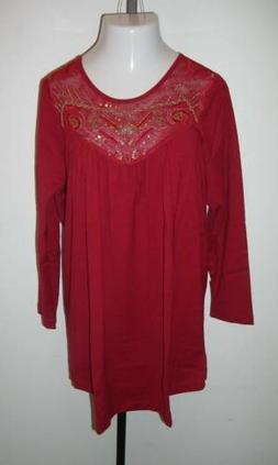 NEW ULLA POPKEN Silver Gold Beaded Mesh Inset Tunic Top Red