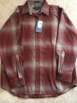 New Pendleton Umatilla Lodge Red Tan Ombre Plaid Wool Shirt