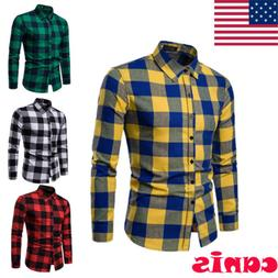 New US Men's Long Sleeve Plaid Shirts Flannel Bisiness Dress