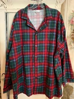 NEW Alexander Del Rossa Womans 3X Pajama Sleep Shirt Red Pla