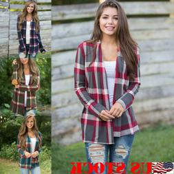 NEW Women Flannel Plaid Long Sleeve Shirts Casual Loose Card