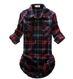 *NEW* Match Women's Long Sleeve Flannel Plaid Shirt; XS; Red