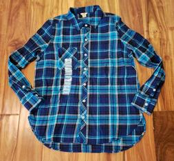 NEW Women's WOOLRICH Spectrum Blue Plaid Flannel Collared Sh