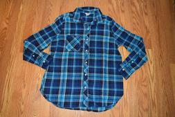 NEW Womens WOOLRICH Spectrum Blue Plaid Flannel Collared Shi