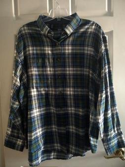NWOT IZOD MEN'S LONG SLEEVE FLANNEL SHIRT SZ 2XL PLAID MULTI