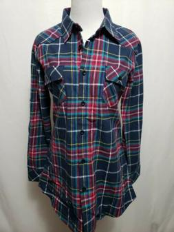 NWT Ochenta 2XL  Blue Flannel Plaid Women's Shirt BUST 38""