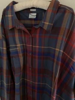 NWT 5X Columbia Boulder Ridge Plaid Flannel Long Sleeve Butt