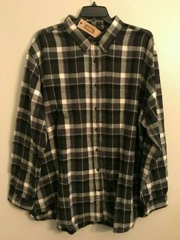 NWT Foundry Big Men's Black Gray Grid Button Flannel Shirt 3
