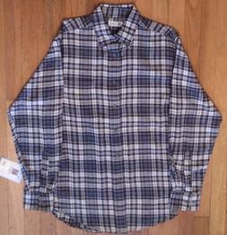 NWT Top Drawer, Black & White Plaid, Soft Cotton Flannel Shi