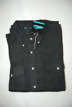 NWT Black Chamois Flannel TRI-MOUNTAIN LS Button Front Shirt