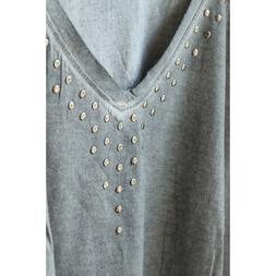 NWT Wild Pearl Boxy Studded Womens Tee Shirt Grey Gray Flann