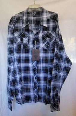 NWT G B button front long sleeve polyester flannel shirt w/