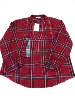 NWT Lucky Brand Flannel Shirt Womens Red Plaid Size S