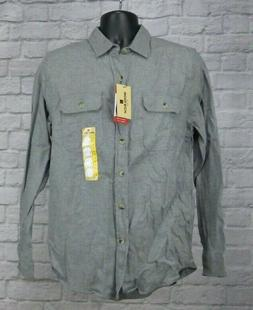 NWT Woolrich Gray Ultimate Flannel Long Sleeve Button Down S